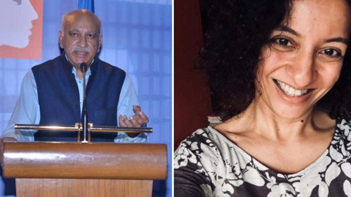 Former Union Minister M J Akbar (L) and (R) Journalist Priya Ramani