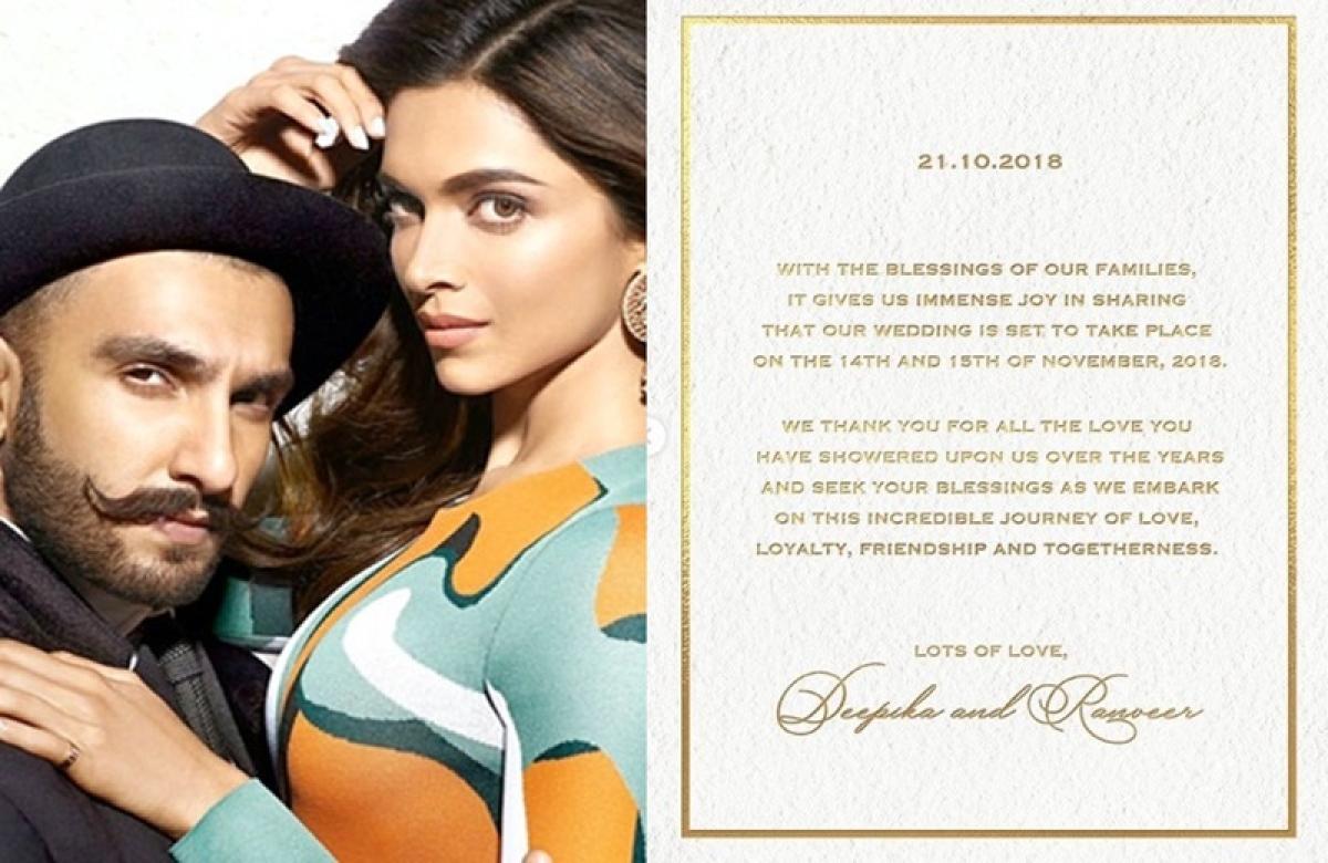 Deepika Padukone, Ranveer Singh to tie the knot on November 14-15; see invite