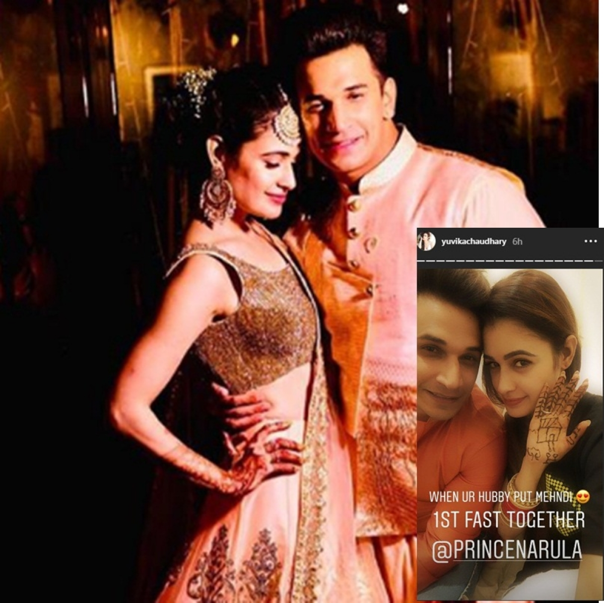 In Pictures: Prince, Yuvika celebrate their first Karwa Chauth