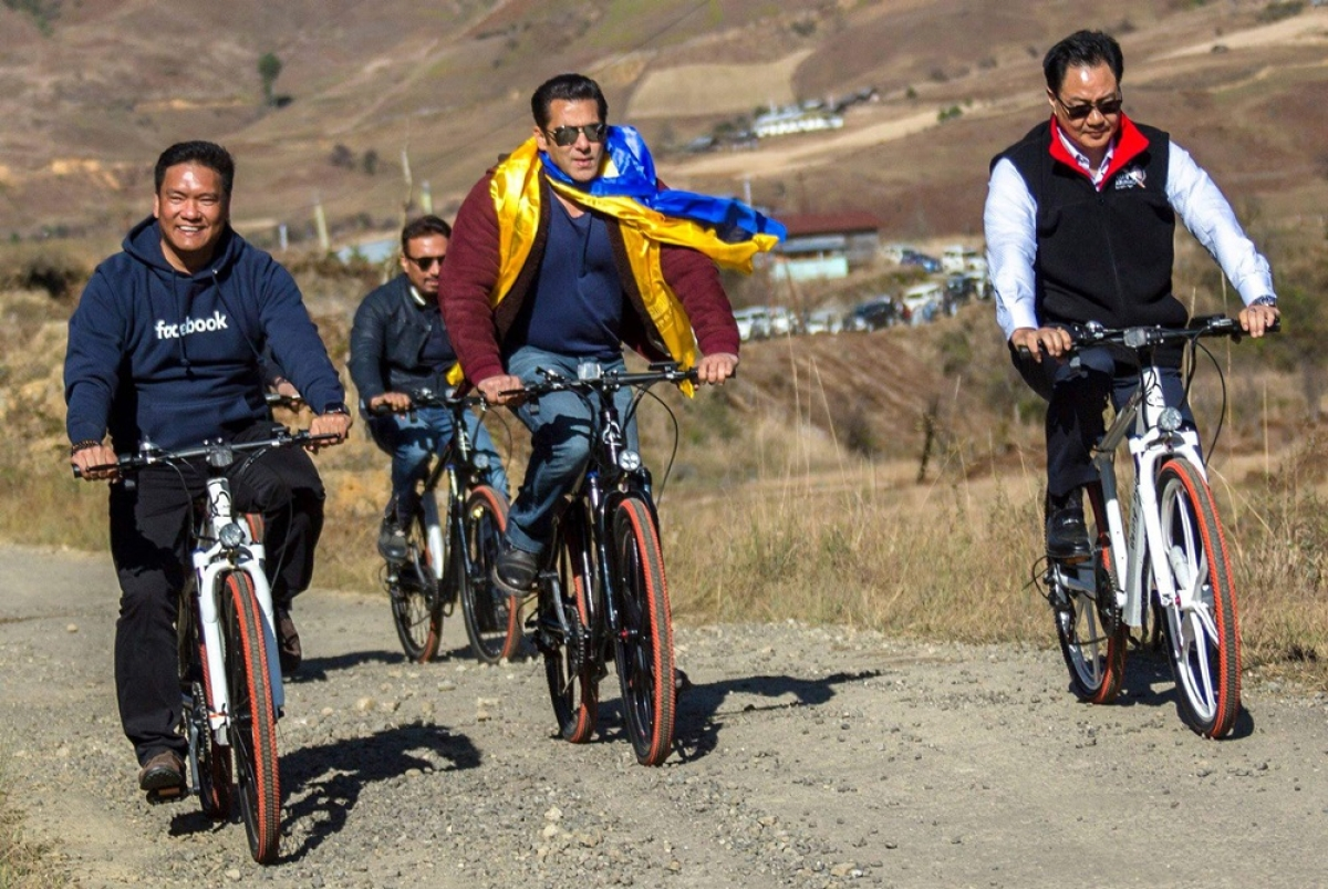 In Pictures! Salman Khan goes cycling with Arunachal CM Pema Khandu and Union Minister Kiren Rijiju