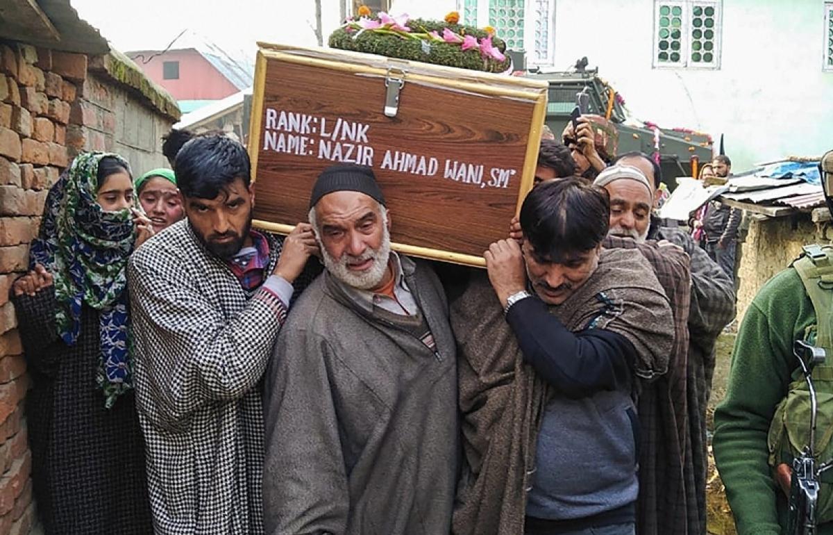 Jammu and Kashmir: Villagers bid tearful farewell to terrorist turned Armyman Lance Naik Nazir Ahmed Wani