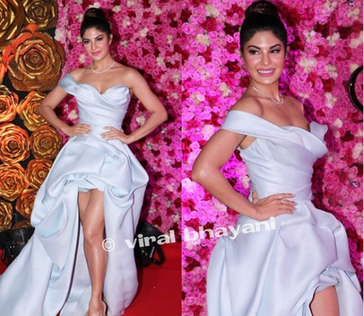 Oops! Jacqueline Fernandez nearly escapes a wardrobe malfunction on the red carpet; watch video