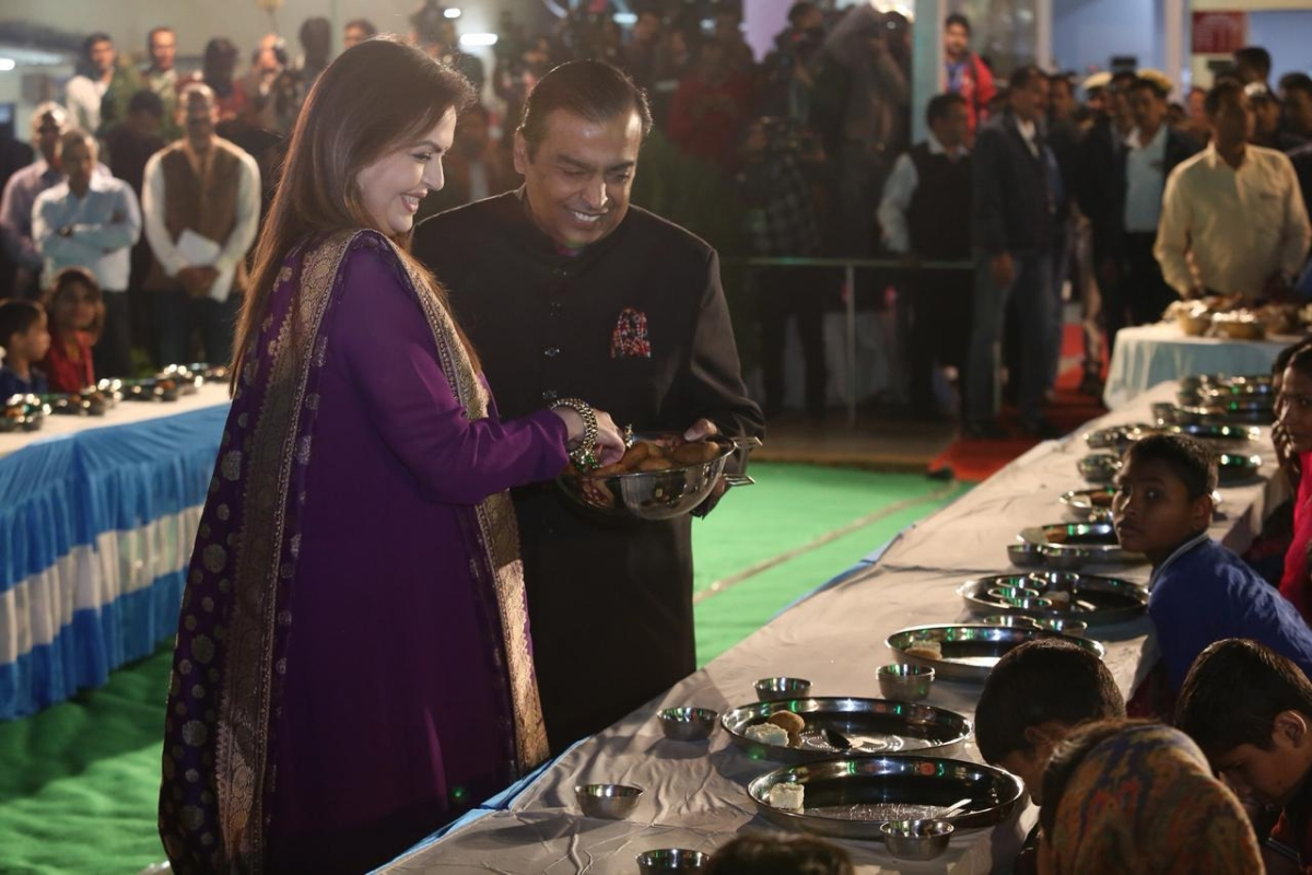In pics! Ambani family seek Udaipur's blessings for their daughter's wedding through a special 'Anna Seva'
