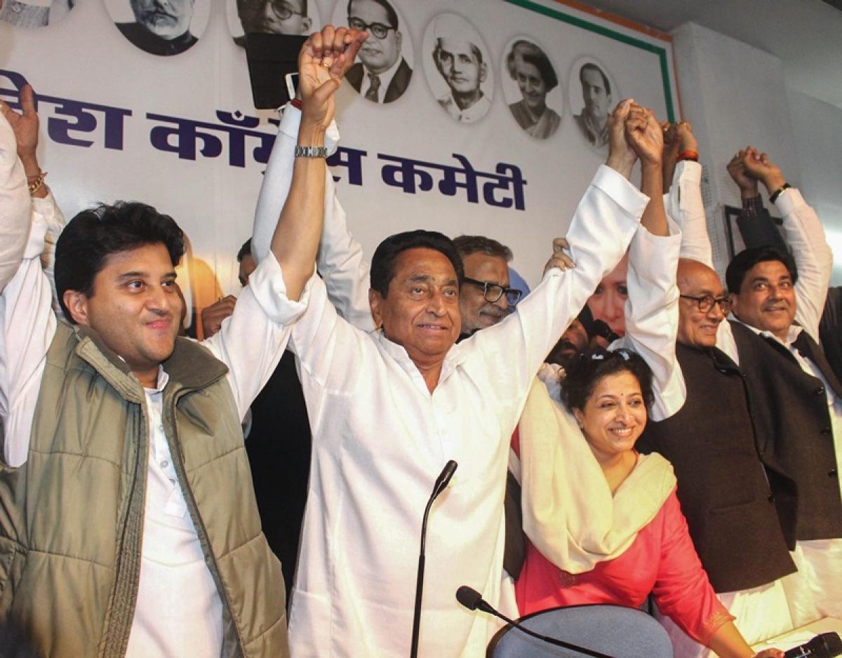 Kamal Nath, Jyotiraditya Scindia and Digvijaya Singh