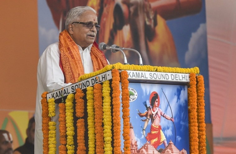 New Delhi: Senior RSS leader Suresh 'Bhaiyyaji' Joshi addresses during Vishwa Hindu Parishad's (VHP) 'Dharma Sabha', in which thousands of people gathered at Ramlila Maidan to press for the construction of Ram Temple in Ayodhya. (PTI Photo/Atul Yadav) (PTI12_9_2018_000123B)