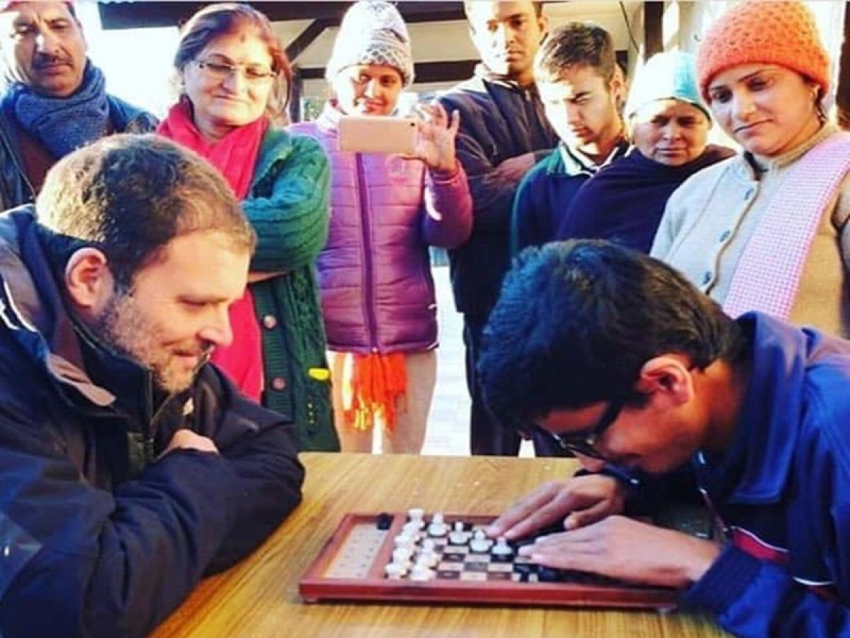 After giving checkmate to BJP in recent Assembly elections, Rahul Gandhi plays chess with specially-abled kids