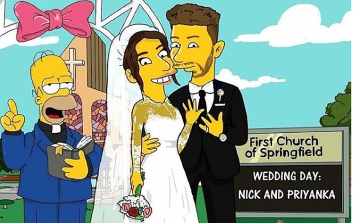 Priyanka Chopra and Nick Jonas' wedding gets Simpson treatment in the latest picture
