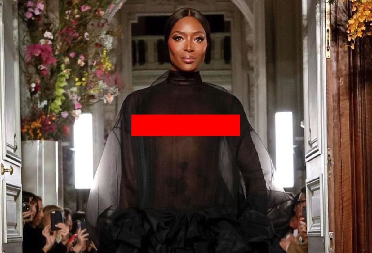 Black Beauty! Naomi Campbell goes nude at Valentino's Spring 2019 couture show