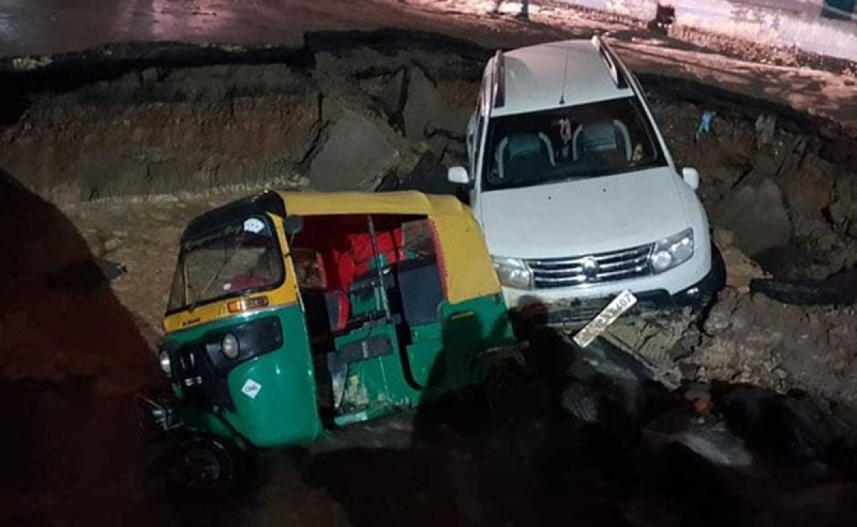 Delhi: Road caves in at busy road near Maujpur Metro station; watch video