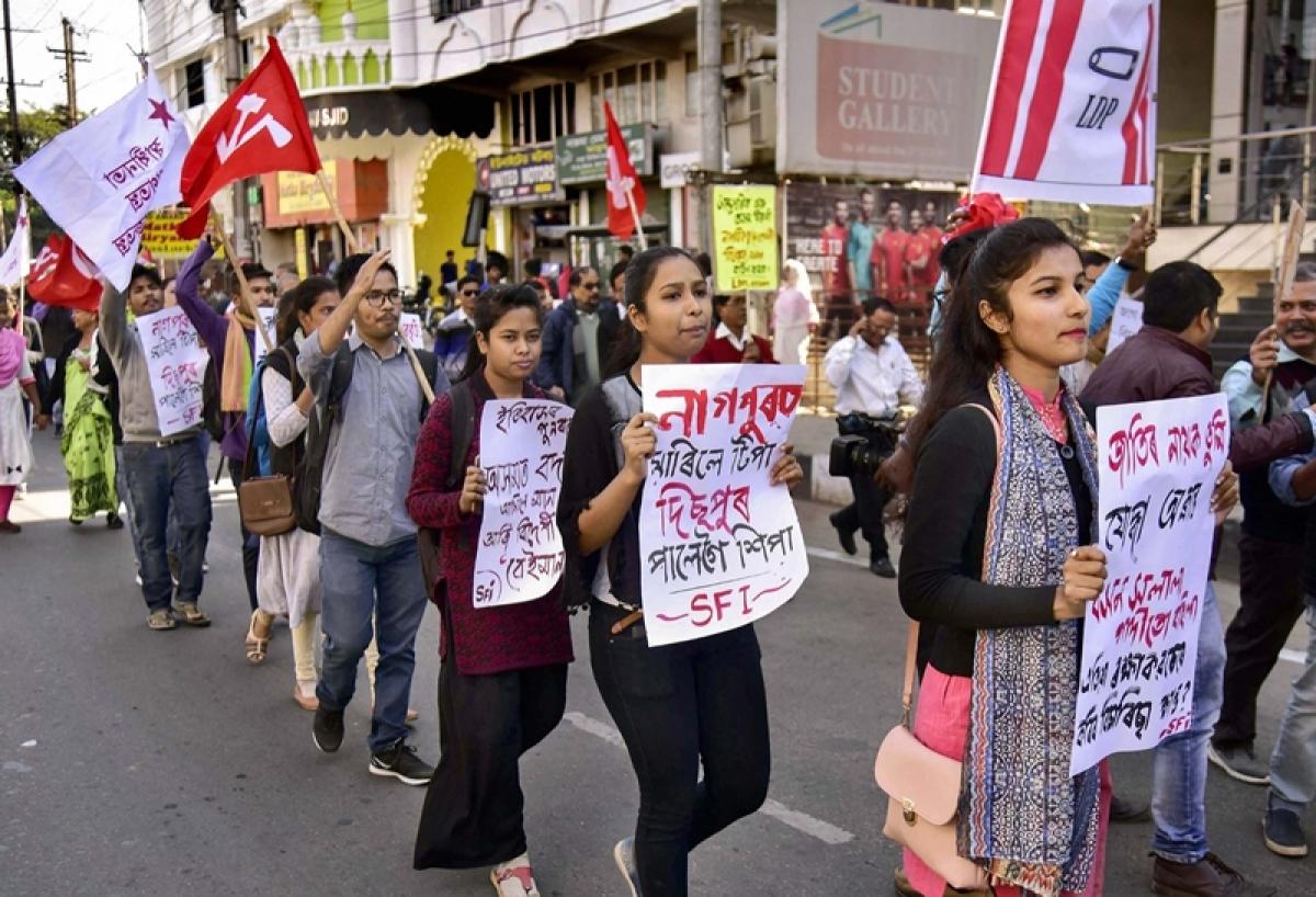 Protests against Citizenship Bill in Mizoram, Tripura