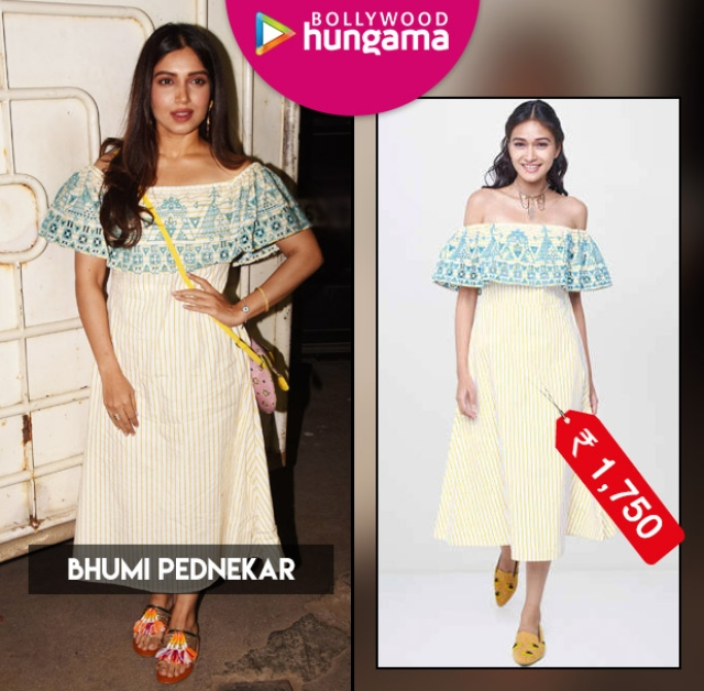 Bhumi Pednekar's Rs 1750 off-shoulder dress is both perfect and thrifty for a date night out
