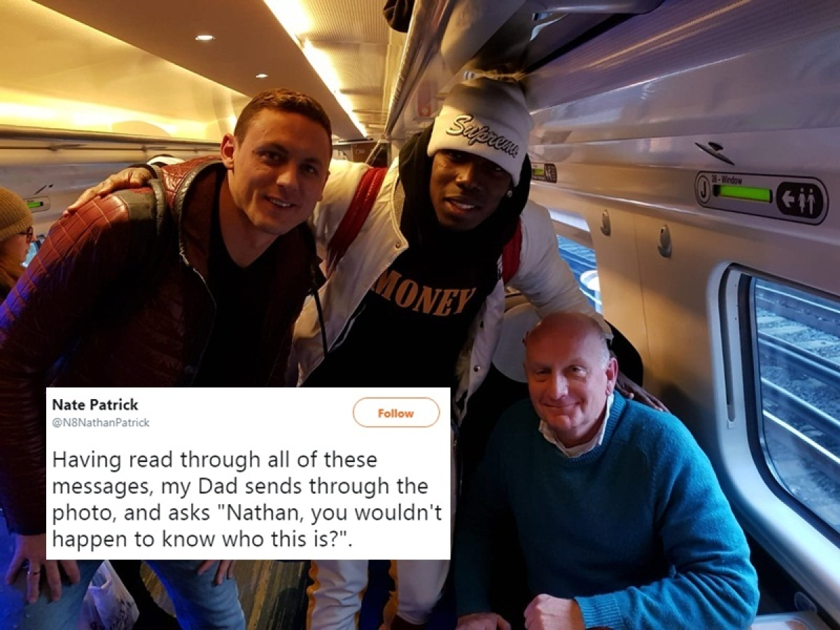 Parents of a sports commentator pose with Paul Pogba and Nemanja Matic, ask son who they are
