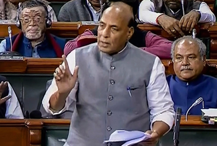 Union Home Minister Rajnath Singh speaks in the Lok Sabha during the Parliament Winter Session. LSTV grab via PTI