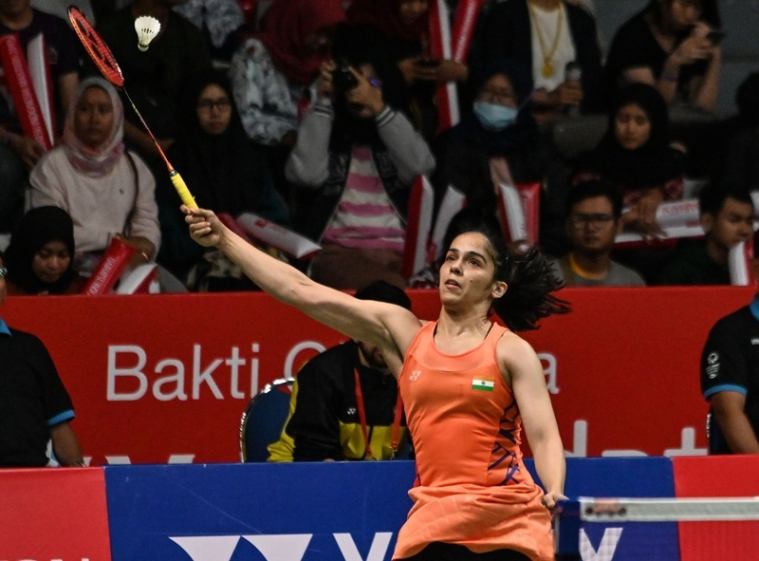 Saina Nehwal during the women's singles quarter-final match against  Pornpawee Chochuwong at the 2019 Daihatsu Indonesia Masters tournament. Photo by BAY ISMOYO / AFP