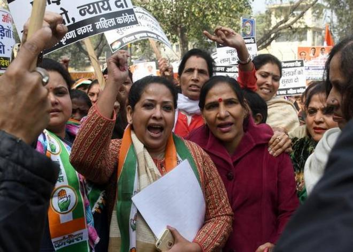 Bhopal: Mahila Congress workers take out protest rally, file plaint