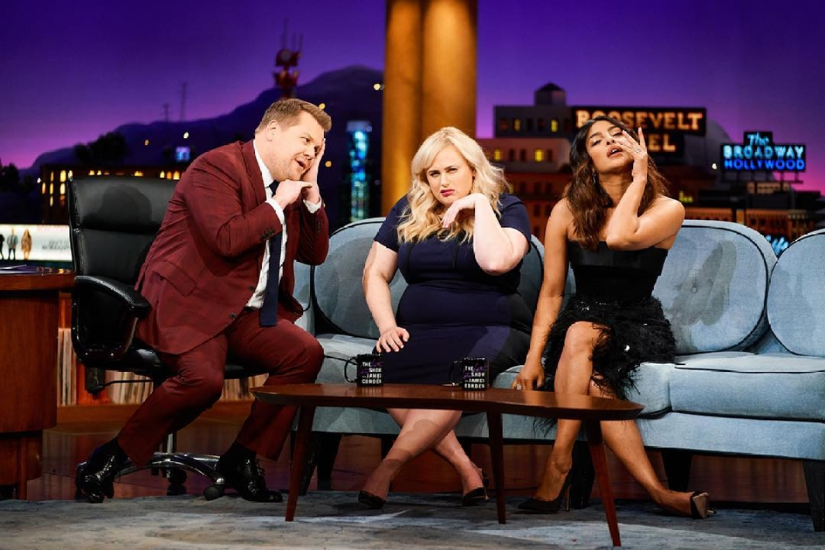 Watch Priyanka Chopra be a pro at game of flinch onThe Late Late Show with James Corden