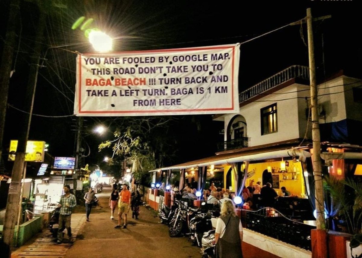 """Google Gaps! After Maps messes up route to Goa's Baga beach, locals put up banner saying, """"You are fooled by Google Maps"""""""