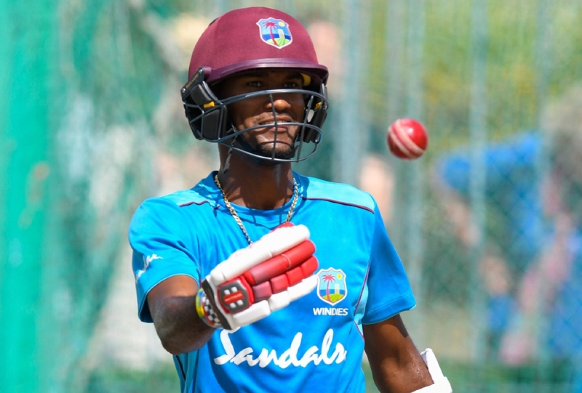 Kraigg Brathwaite takes part in a training session ahead Test between England and West Indies. Photo by Randy Brooks / AFP