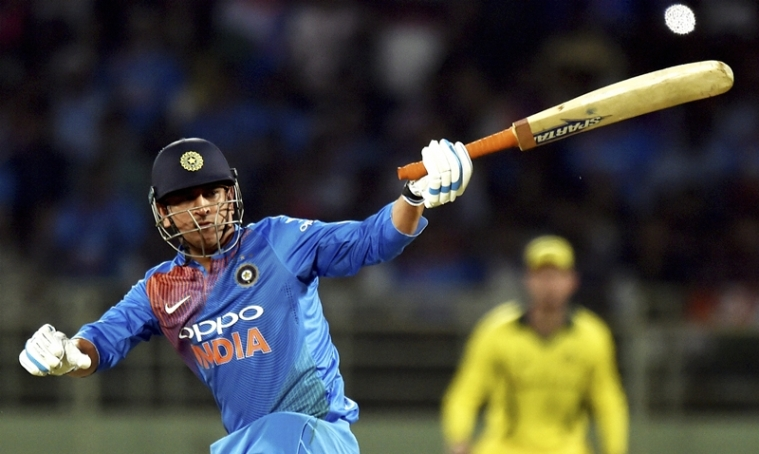 MS Dhoni plays a shot against Australia at the first T20 international against Australia at the Dr. YS Rajasekhara Reddy ACA–VDCA Cricket Stadium in Vizag. PTI Photo/R Senthil Kumar