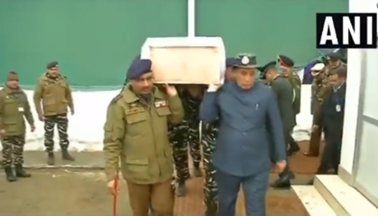 Watch: Home Minister Rajnath Singh carries coffin of CRPF soldier who died in Pulwama terror attack