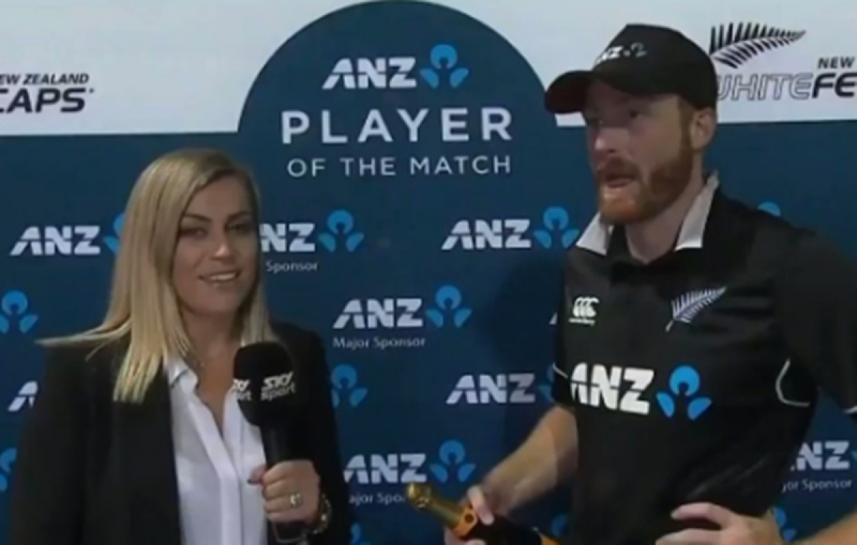 Strictly professional! Martin Guptill was interviewed by none other than wife Laura McGoldrick after match-winning ton against Bangladesh