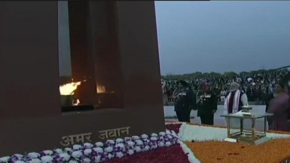 PM Modi inaugurates National War Memorial by lighting eternal flame below Obelisk; watch video