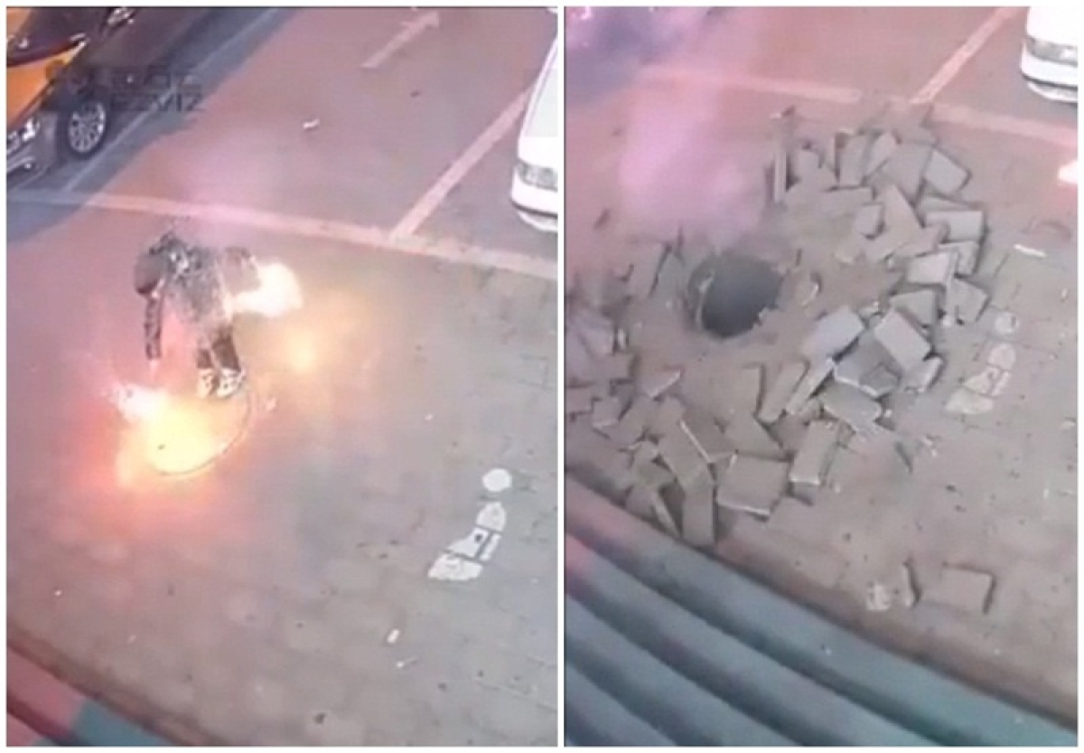 Watch Video! Chinese kid blows sidewalk after he drops lit firework in a manhole