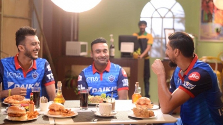Delhi Capitals' Ishant Sharma, Amit Mishra, Axar Patel enjoy themselves while shooting for IPL 2019 ad