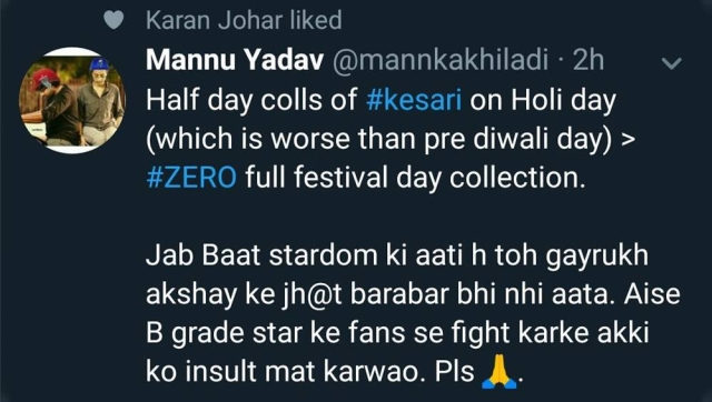 Karan Johar apologises after netizens slam him for liking an offensive tweet on Shah Rukh Khan; calls it technical glitch