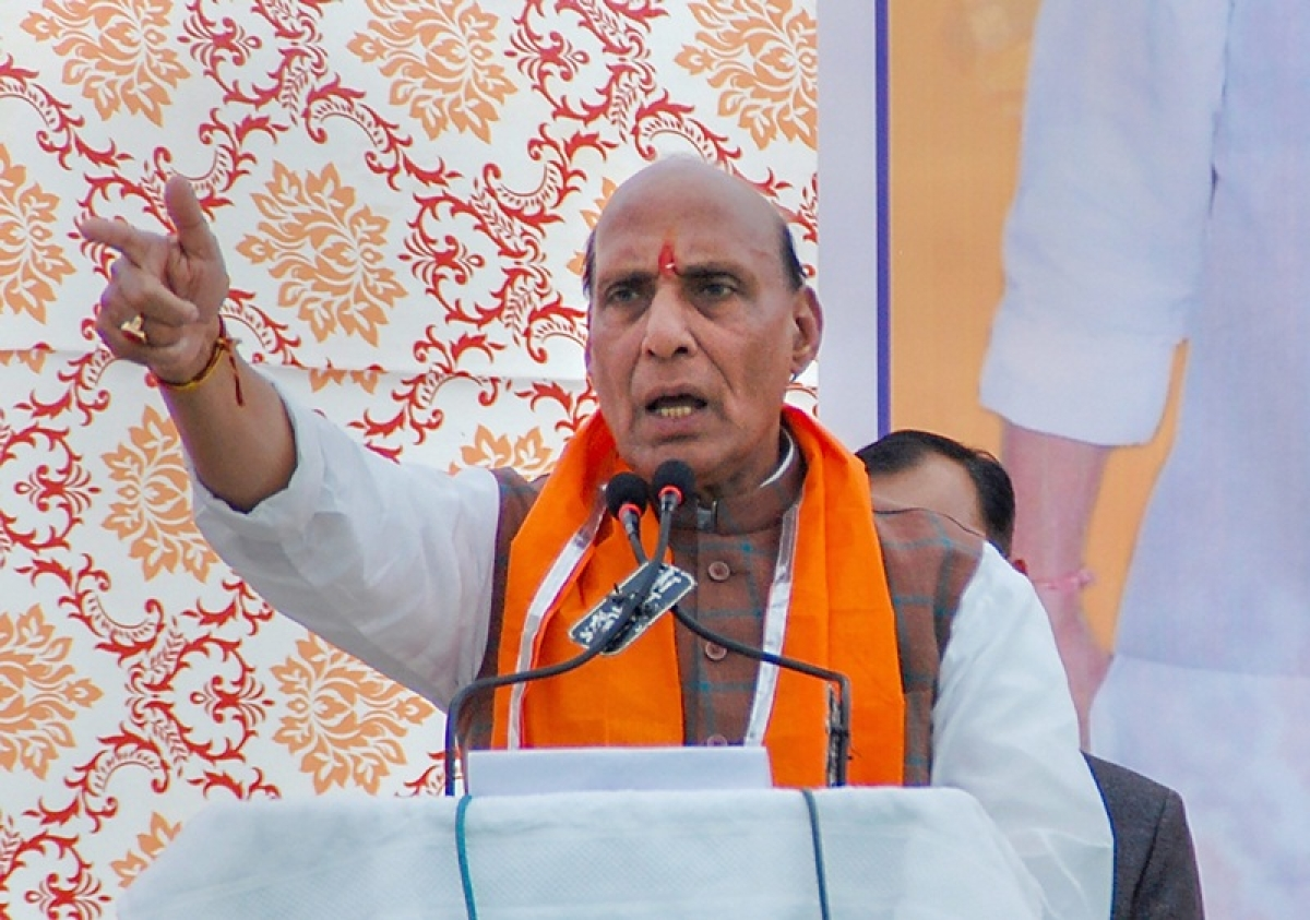 Bhopal: Rajnath Singh hits out at Congress for questioning airstrikes