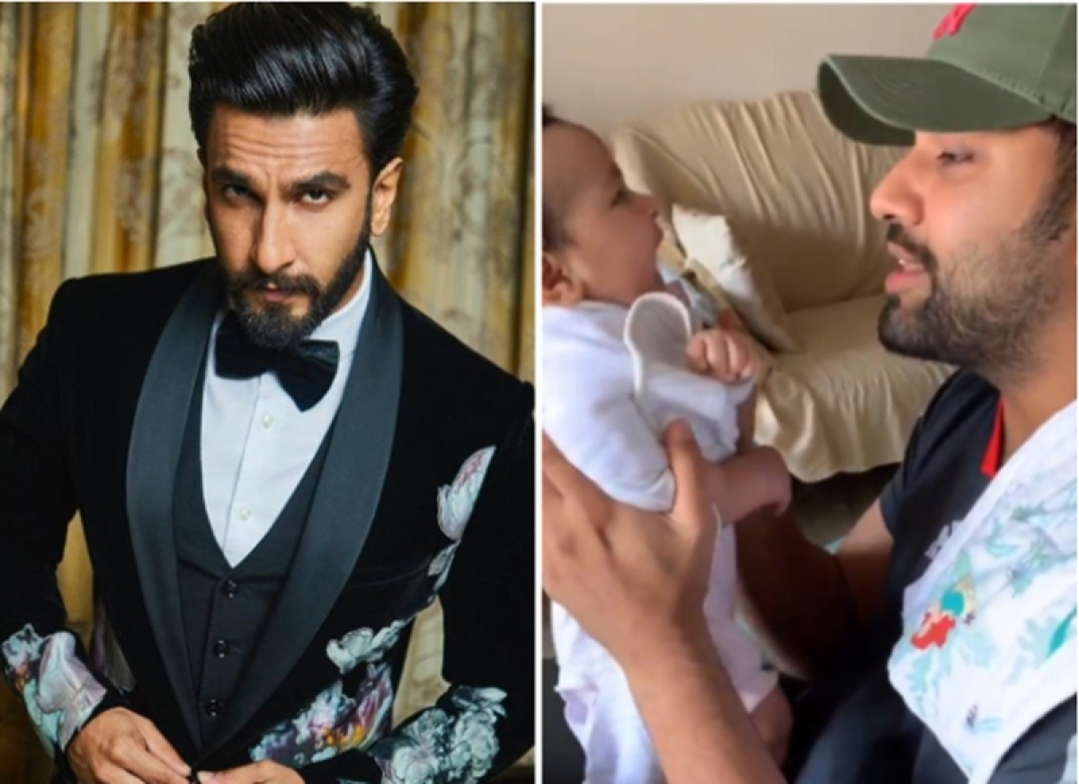 Ranveer Singh reacts to Rohit Sharma's 'Asli Hip Hop' rap from 'Gully Boy' with daughter Samaira