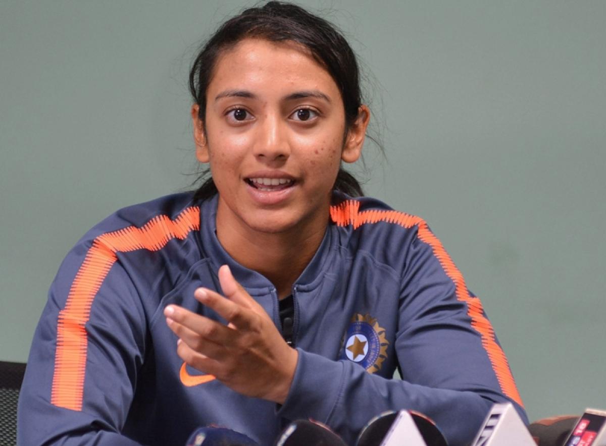 Indian women's cricket team captain Smriti Mandhana addresses a press conference in Guwahati. PTI Photo