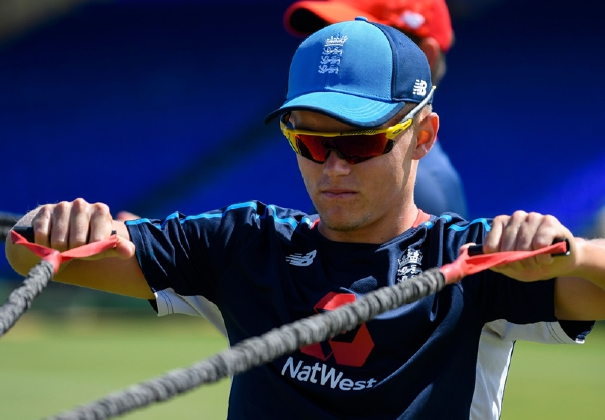 Sam Curran take part in a training session a day ahead of the 2nd T20 between the West Indies and England. Photo by Randy Brooks / AFP