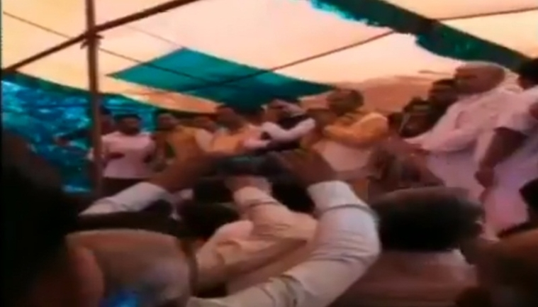 Watch video: Stage collapses during BJP's 'Holi Milan' event in Uttar Pradesh's Sambhal