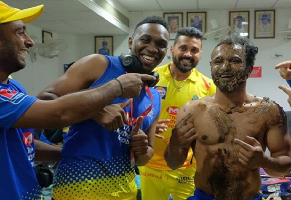 Cake facial for Kedar Jadhav as Chennai Super Kings teammates celebrate his birthday, watch
