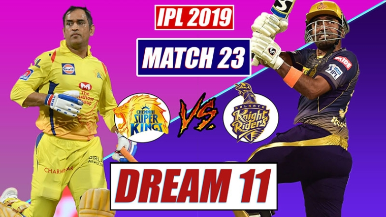 CSK vs KKR Dream11 Team Prediction | IPL 2019 23rd Match Dream 11,Tips For Chennai vs Kolkata