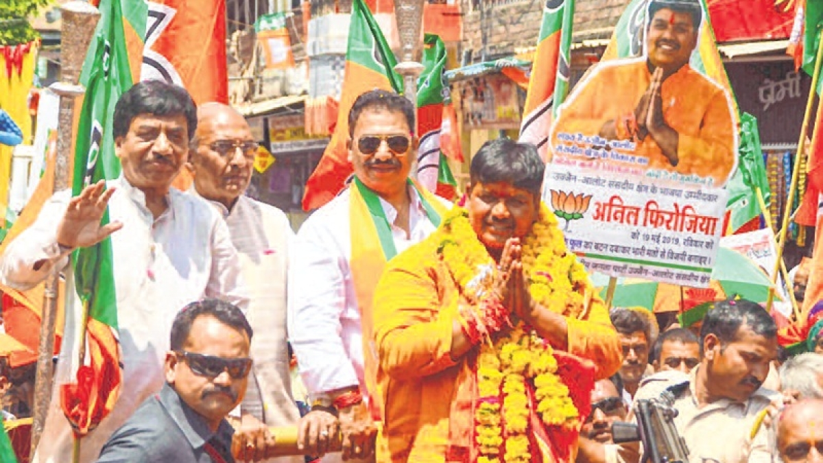 File Photo/ Anil Firojiya campaigns during general election