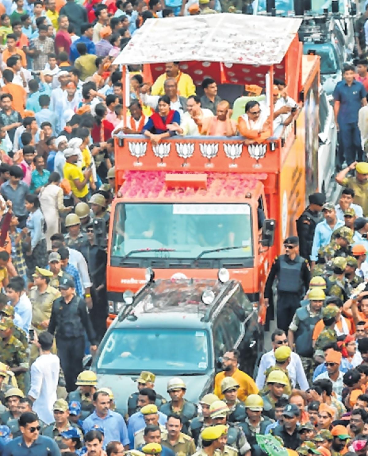 Sea of saffron supporters greets PM Narendra Modi during mega roadshow in Varanasi