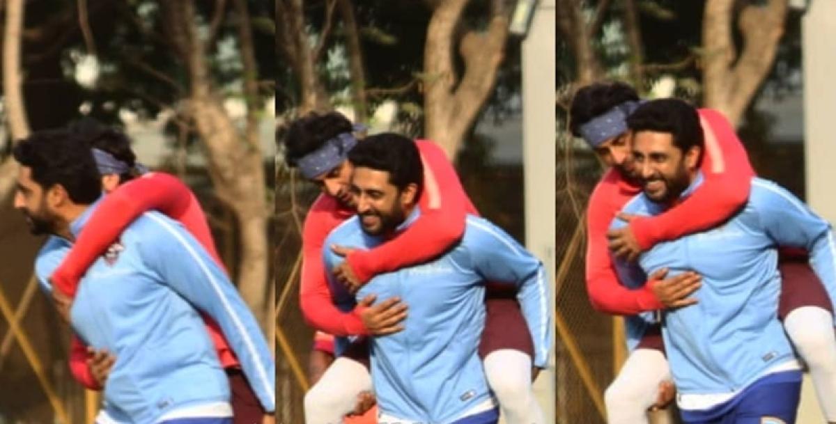 When Abhishek Bachchan gave Ranbir Kapoor a piggyback ride