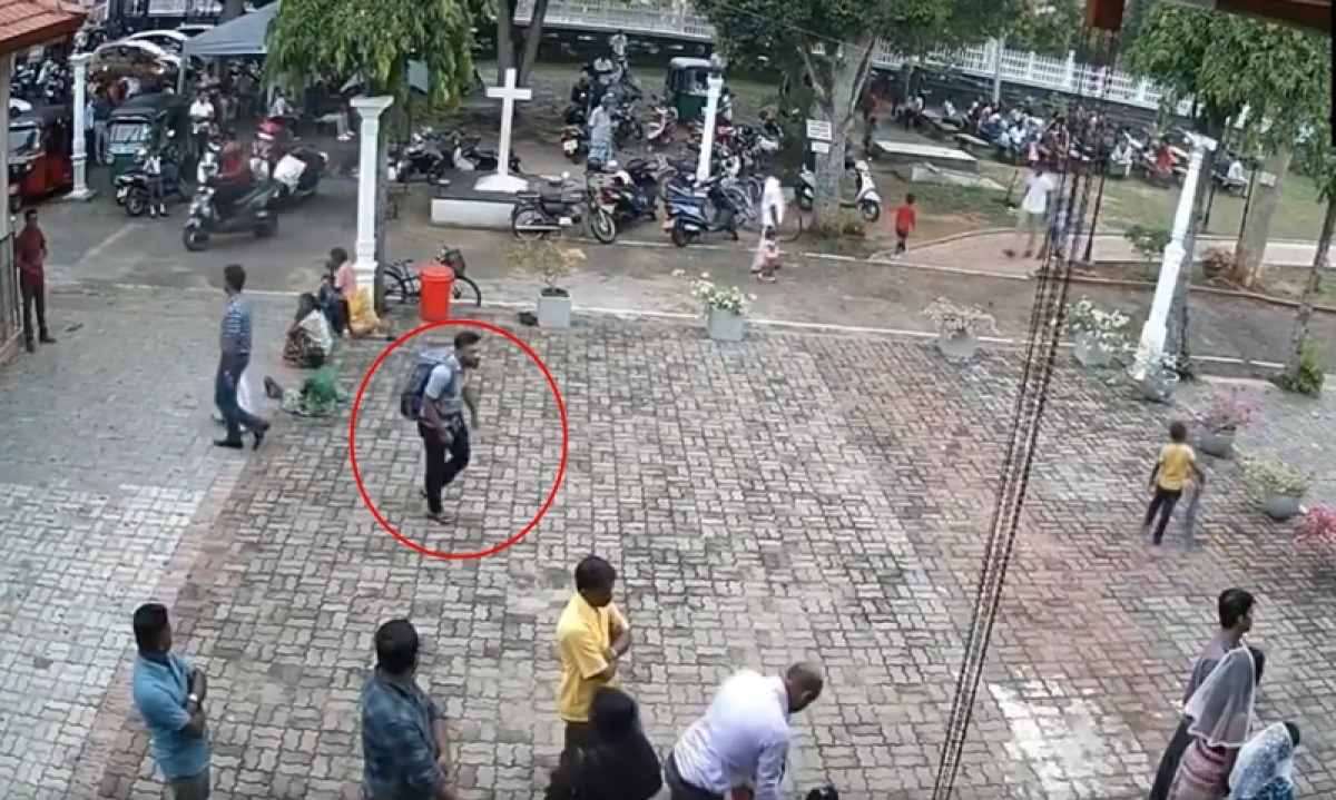 Sri Lanka blasts: CCTV footage shows suspected suicide bomber entering St Sebastian church with  backpack; watch video