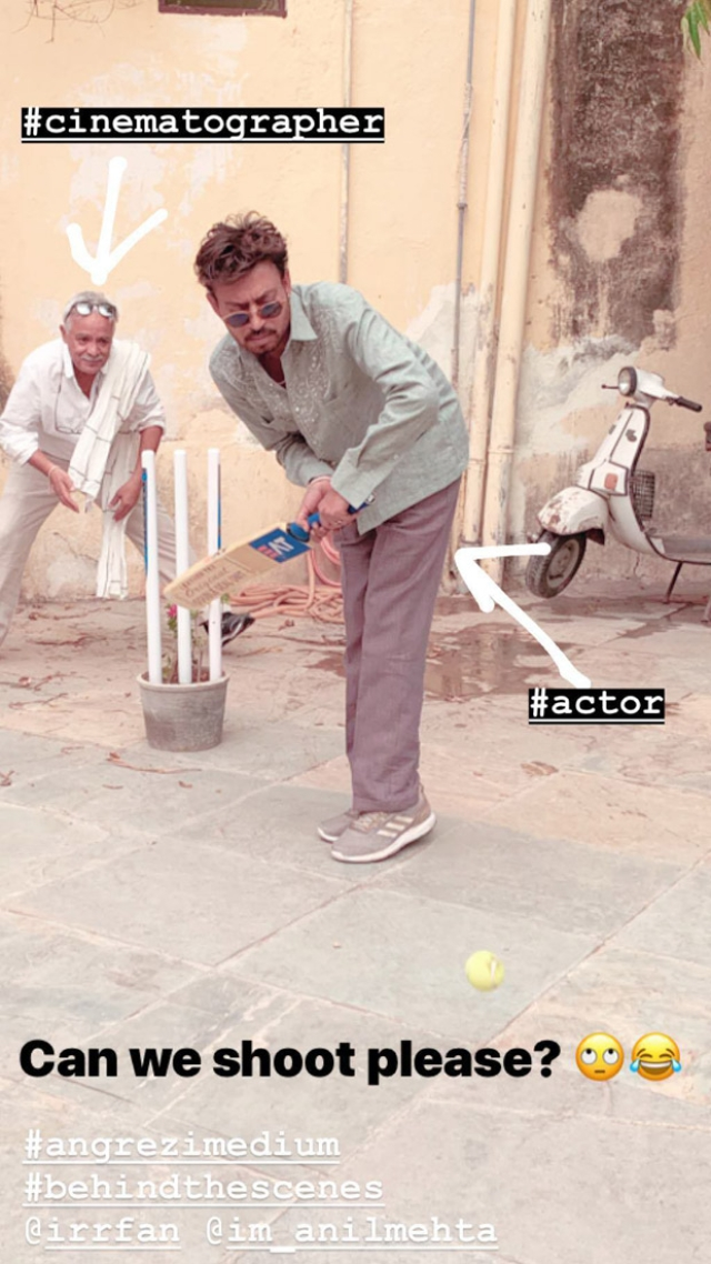 Irrfan Khan enjoys a cricket match on the sets of Angrezi Medium