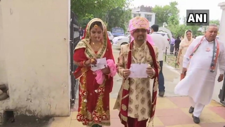 Viral: Newly Married Couple steps out to vote in J&K, gets mixed responses on Twitter