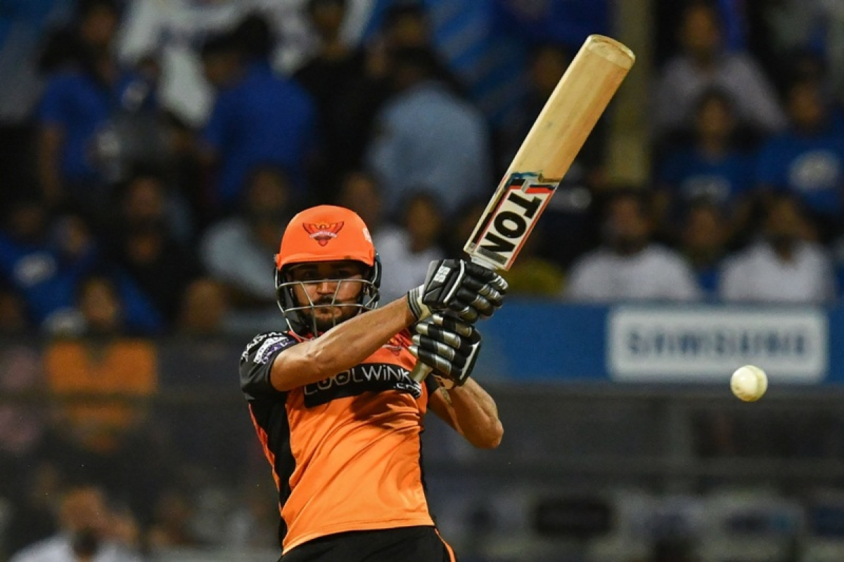 Sunrisers Hyderabad cricketer Manish Pandey plays a shot during the 2019 Indian Premier League (IPL) Twenty20 cricket match between Mumbai Indians and Sunrisers Hyderabad at the The Wankhede Stadium cricket stadium in Mumbai on May 2, 2019. (Photo by Indranil MUKHERJEE / AFP)