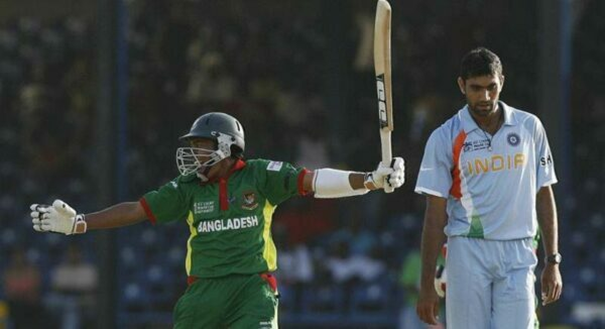Bangladesh celebrate victory over India in 2007 World Cup. Pic: @ICC/ Twitter