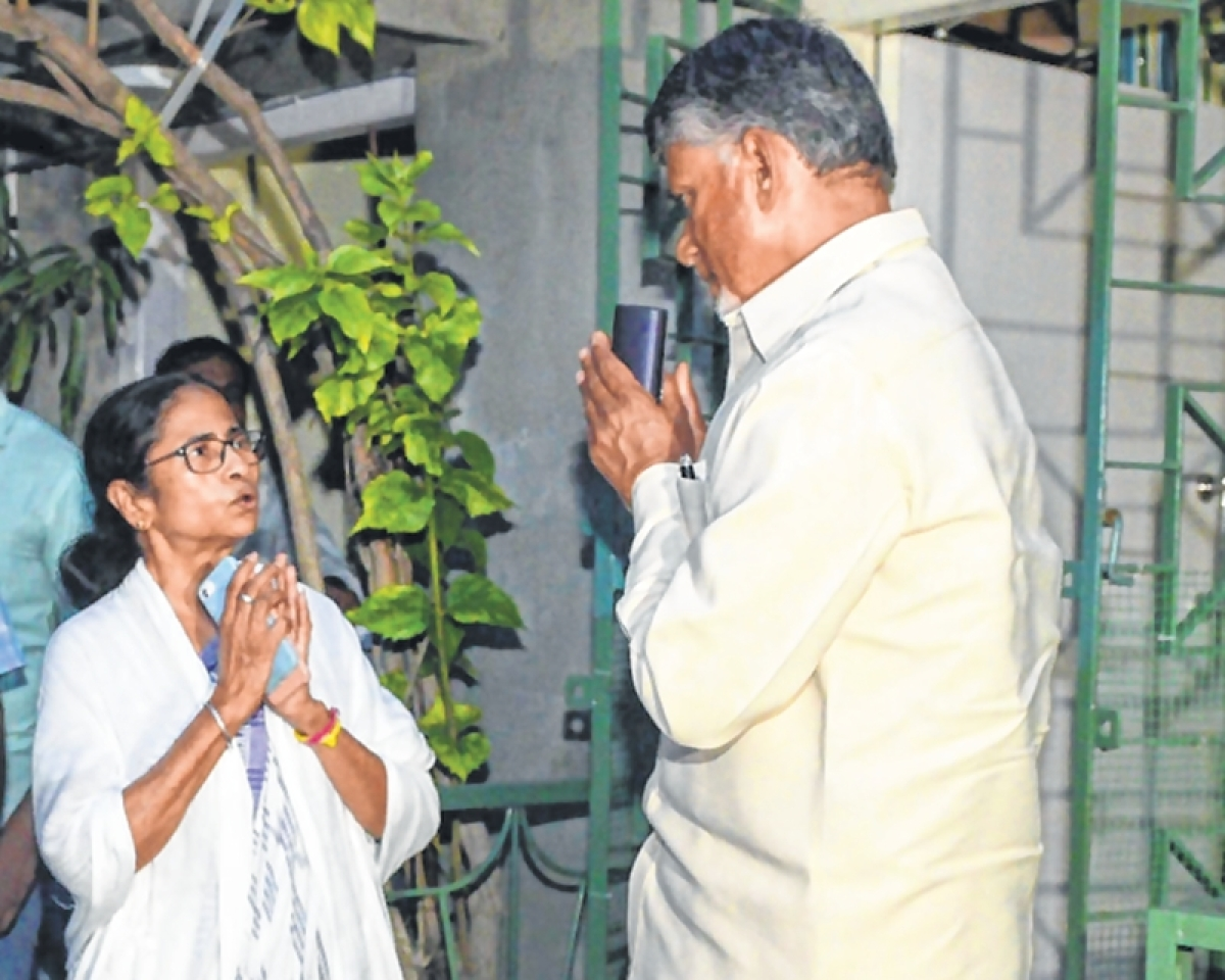 Brake on unity moves; Chandrababu Naidu, Mamata Banerjee discuss formation of non-BJP government in case of hung verdict
