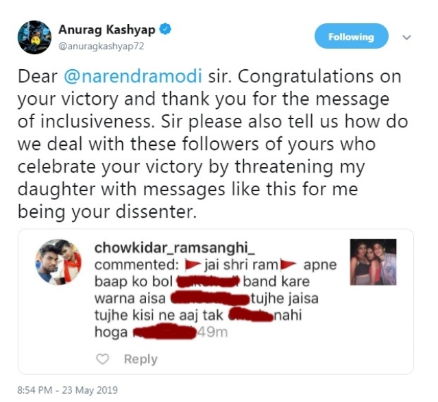 Anurag Kashyap calls Ashoke Pandit a moron for stating rape threat to daughter as Photoshopped