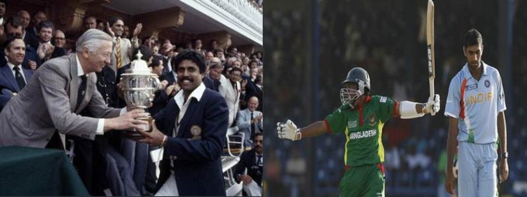 Kapil Dev with 1983 World Cup trophy (left); Bangladesh celebrate victory over India in 2007 (right)