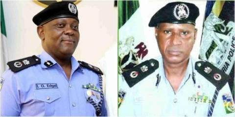 Former Lagos CP, Edgal Imohimi, and the new Lagos CP, Mu'azu Zubairu