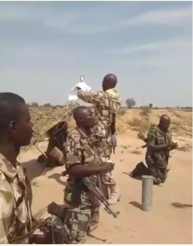 Watch Gallant Nigerian Soldiers Sing Praises To God At The Battlefront