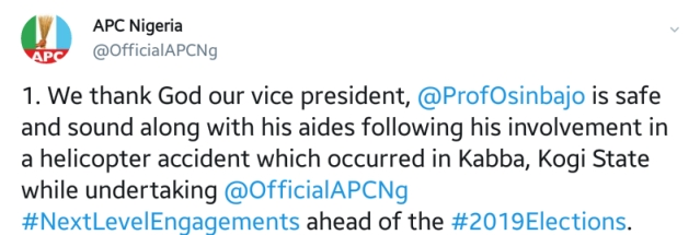 Twitter Reacts To Vice-President Yemi Osinbajo's Helicopter Crash